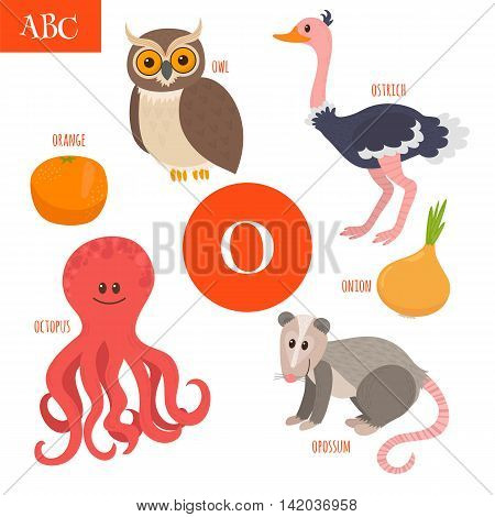 Letter O. Cartoon Alphabet For Children. Owl, Opossum, Ostrich, Orange, Octopus, Onion