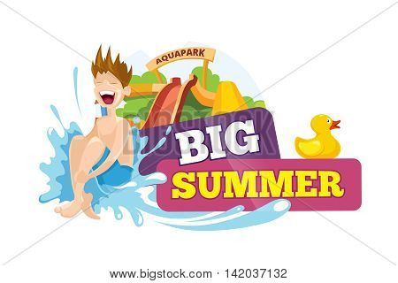 Vector color emblem of water hills in an aquapark. The cheerful boy rides on water hills. Advertise label with place for your text. Pictures isolate on white background. Playground Logo design