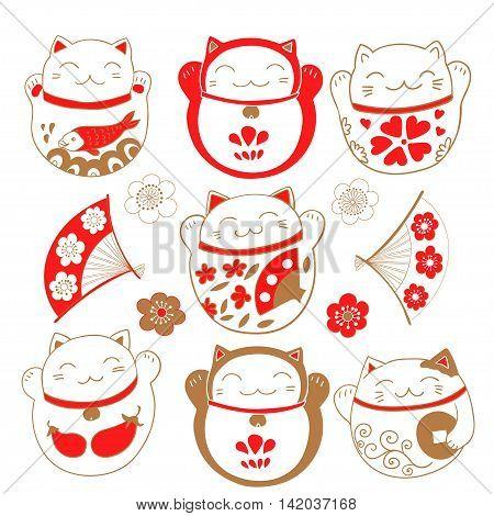 Cute set with cats Maneki Neko, bringing luck and prosperity. Vector illustration.