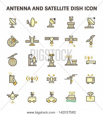 Antenna and satellite dish vector icon set.