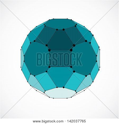 Abstract Vector Low Poly Object With Black Lines And Dots Connected. Green 3D Futuristic Ball With O