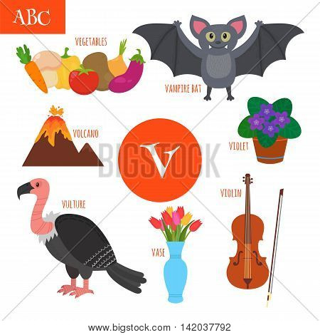 Letter V. Cartoon Alphabet For Children. Violin, Vulture, Vegetables, Violet, Vase, Volcano, Vampire