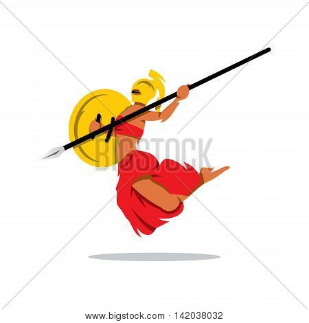 A Spartan Girl with spear in a jump attack. Isolated on a white background