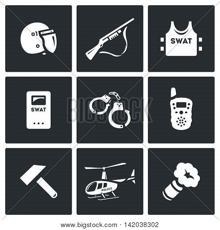 Helmet, Shotgun, Body Armor, Shield, Handcuffs, Radio, Sledgehammer, Helicopter, Smoke Grenade