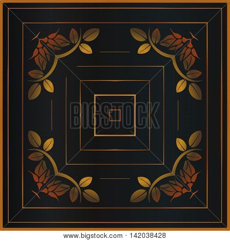 Vector vintage border frame engraving with rust colored retro ornament pattern in antique rococo style decorative design