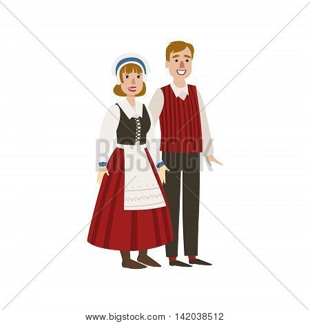 Couple In Hollandaise National Clothes Simple Design Illustration In Cute Fun Cartoon Style Isolated On White Background