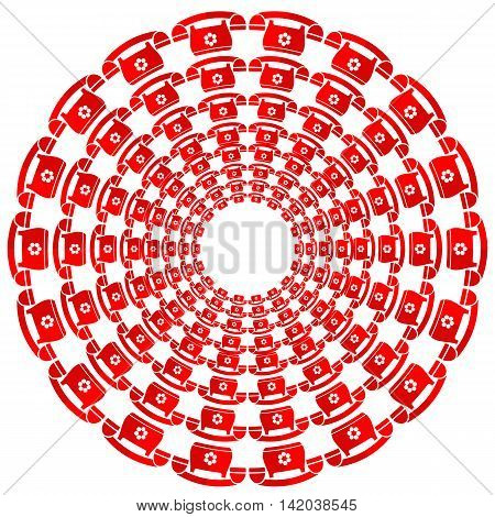Set of Round Red Phone Frames Isolated on White Background