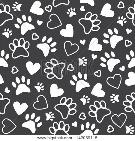 Seamless Pattern With Paw And Heart Prints. Cute Animal Footprint Background