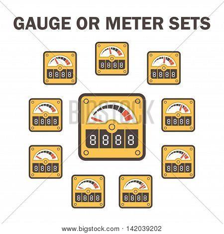 Gauge meter vector icons sets design on white.