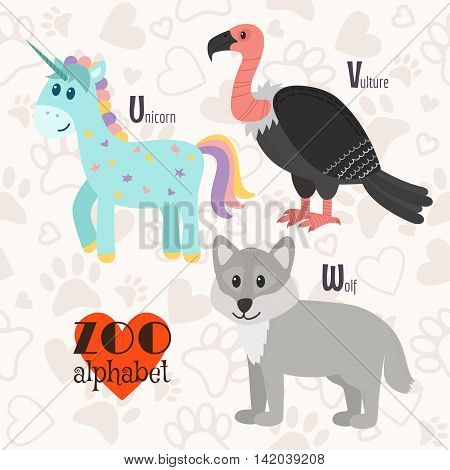 Zoo Alphabet With Funny Animals. U, V, W Letters. Unicorn, Vulture, Wolf