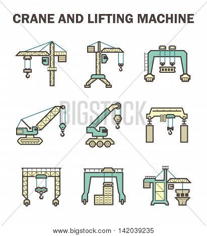 Crane and lifting machine icons set, flat and color design.