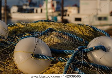 Fishing net in the harbour at the Black Sea