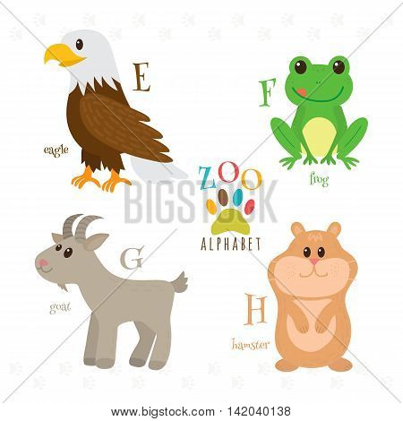 Zoo Alphabet With Funny Cartoon Animals. E, F, G, H Letters. Eagle, Frog, Goat, Hamster