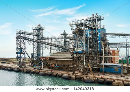 Oil and gas processing plant. On the shore of the sea.