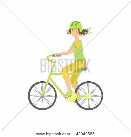 Woman Riding A Bicycle In Helmet Illustration Isolated On White Background. Simplified Cartoon Character Flat Vector Icon