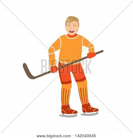 Guy Playing Hockey In Orange Uniform Illustration Isolated On White Background. Simplified Cartoon Character Flat Vector Icon