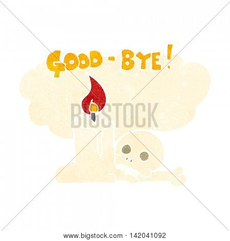 freehand retro cartoon goodbye sign