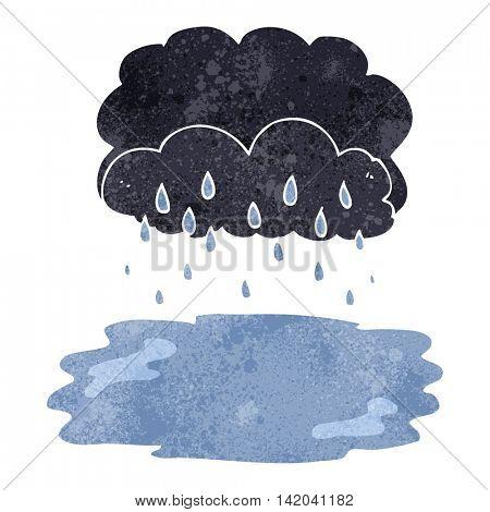 freehand retro cartoon rain cloud