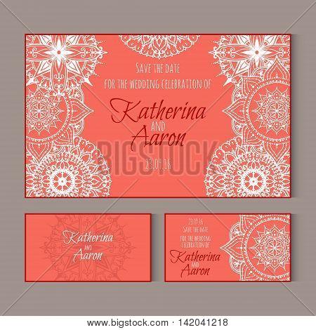 Set of invitation wedding cards. Circular patterns decor on cards. Vector Mandala.