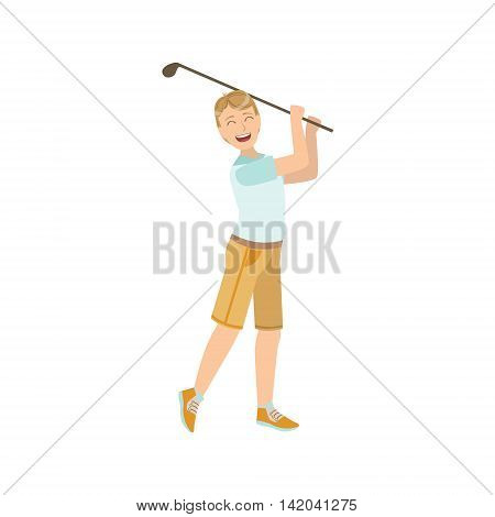 Man Playing Golf Illustration Isolated On White Background. Simplified Cartoon Character Flat Vector Icon