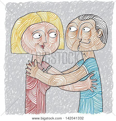 Happy Couple, Family, Human Relationships Idea. Love And Happiness Conceptual Illustration. Hand-dra