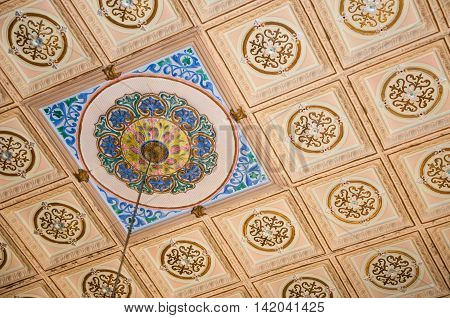 Ornate ceiling tiles with colourful medallion accent for lighting fixture.