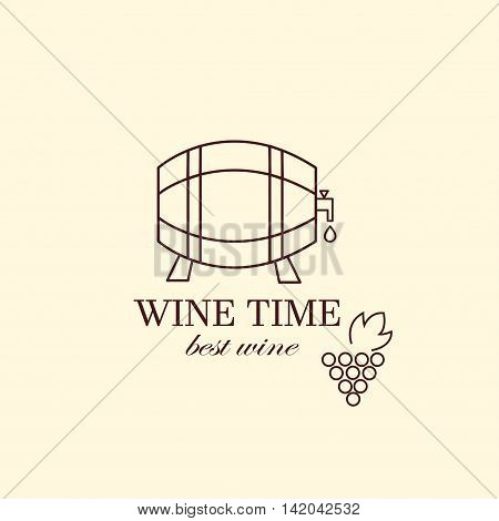 Vector grape vine and wine bottles, negative space logo design template. Colorful trendy illustration. Concept for wine list, bar menu, alcohol drinks, wine label.