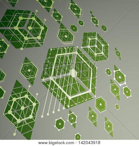 Bauhaus art dimensional composition perspective green modular vector backdrop with honeycombs.