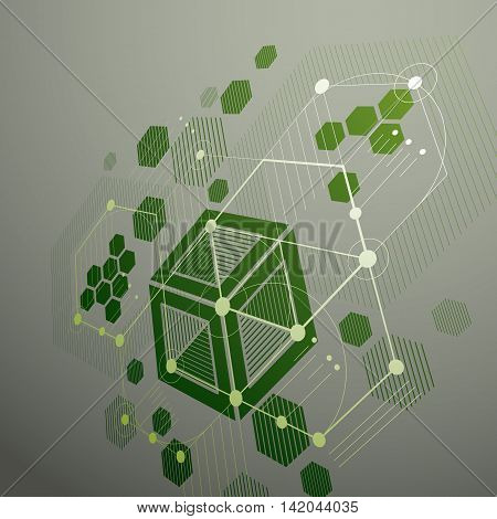 Bauhaus retro perspective green art vector background made using lines and honeycombs.