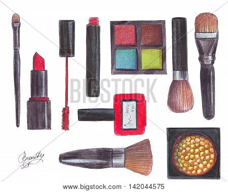 Isolated on white background beauty objects: eyeshadow brushes lipstick nail polish maskara rouge. Accessories hand drawn with ink and color pencils. Fashion illustration