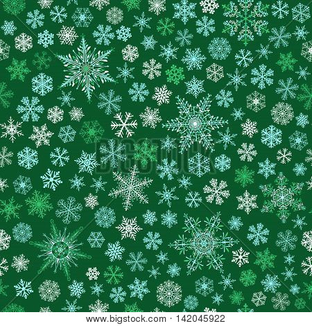 Seamless Pattern Of Snowflakes, White And Light Blue On Green