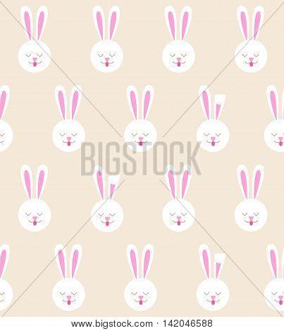 Seamless pattern with bunny. Rabbit pattern on a light background