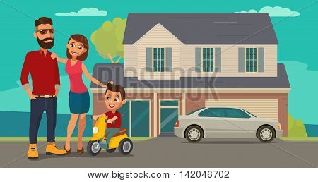 Family. Parents grandparents and child on a tricycle on background with house and car. Color flat vector illustration