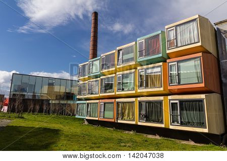 Amersfoort Netherlands Colorful student accommodation along the Eem river