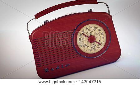 Retro Portable Radio On White.