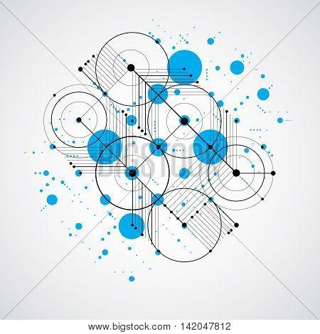 Bauhaus art composition decorative modular blue vector backdrop with circles and grid.