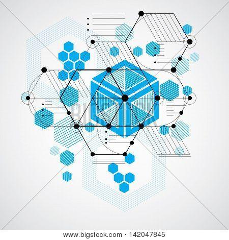 Bauhaus retro art vector blue background made using grid circles and rhombuses.