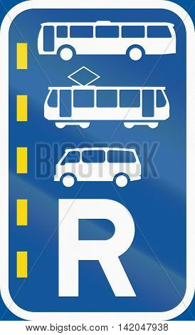 Road Sign Used In The African Country Of Botswana - Reserved Lane For Buses, Trams And Mini-buses