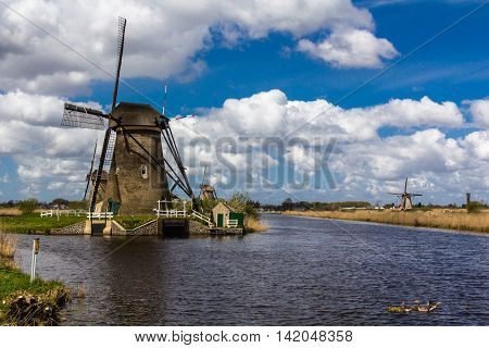 Kinderdijk windmills closed to Roterdam in Netherlands
