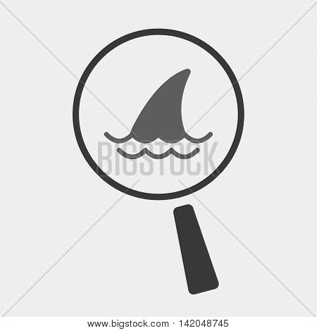 Isolated Magnifier Icon With A Shark Fin