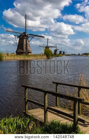 Kinderdijk windmills closed to Roterdam inb Netherlands