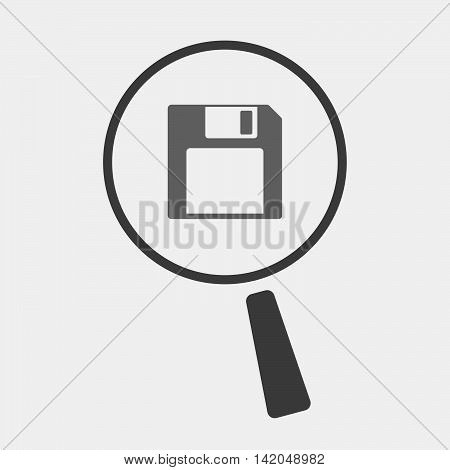 Isolated Magnifier Icon With A Floppy Disk
