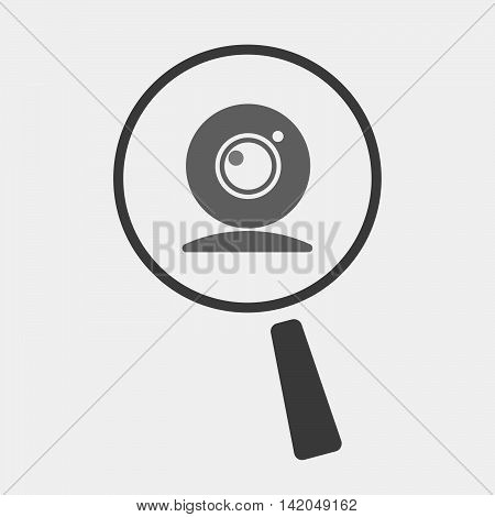 Isolated Magnifier Icon With A Web Cam