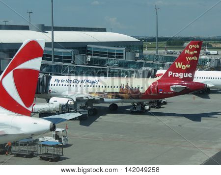 PRAGUE CZECH REPUBLIC - CIRCA JUNE 2016: aircrafts of the Czech Airlines parked at the airport