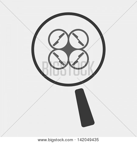 Isolated Magnifier Icon With A Drone