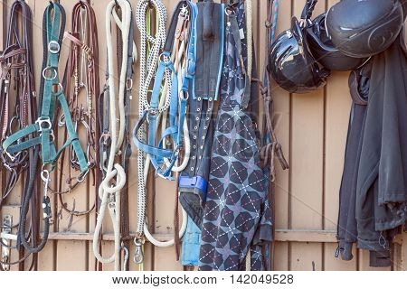 Details of diversity used horse reins, background the log cabin