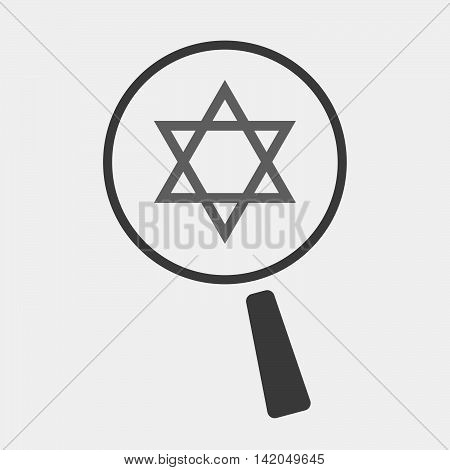 Isolated Magnifier Icon With A David Star