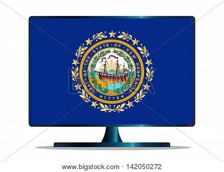 A TV or computer screen with the New Hampshire state flag