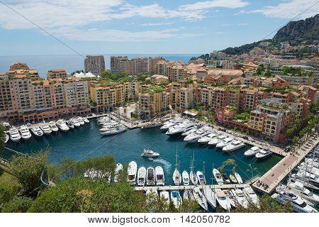 MONACO, MONACO - JUNE 17, 2015: View to Fontvieille and Monaco Harbor in Monaco, Monaco.