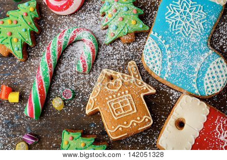 Christmas Gingerbread Cookies And Sweet Cane Strewn With Snow